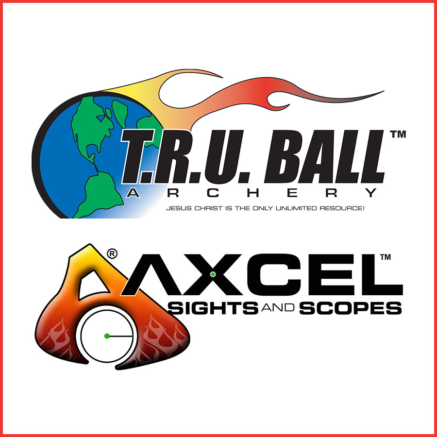 T.R.U. Ball and Axcel Sights and Scopes logo
